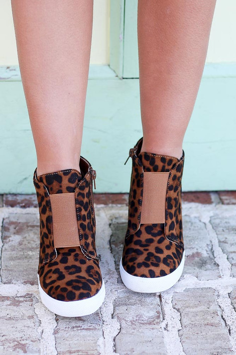 Leopard - Microsuede Wedge Sneakers Front View