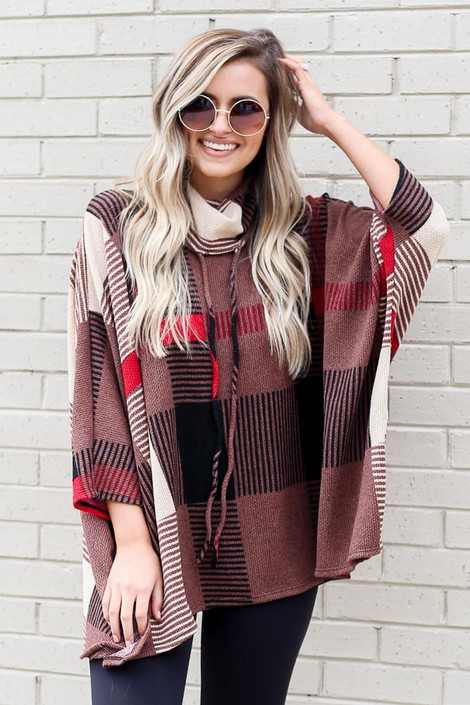 Mocha - Cowl Neck Plaid Oversized Top from Dress Up boutique