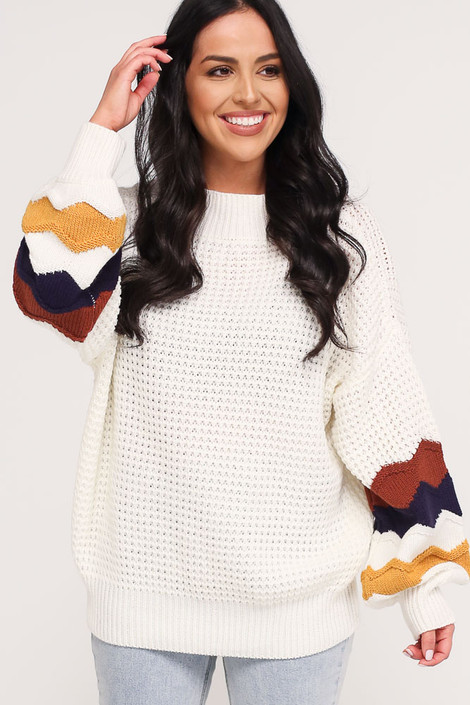 Ivory - Statement Sleeve Oversized Knit Top