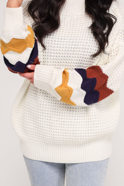 Ivory - Statement Sleeve Oversized Knit Top from Dress Up