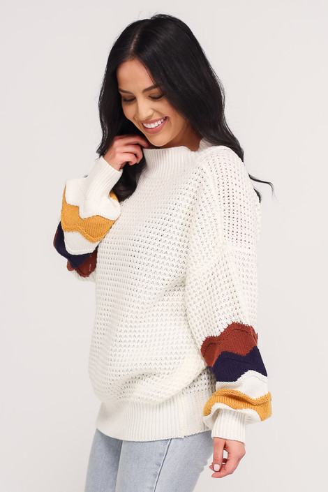 Statement Sleeve Oversized Knit Top Side View