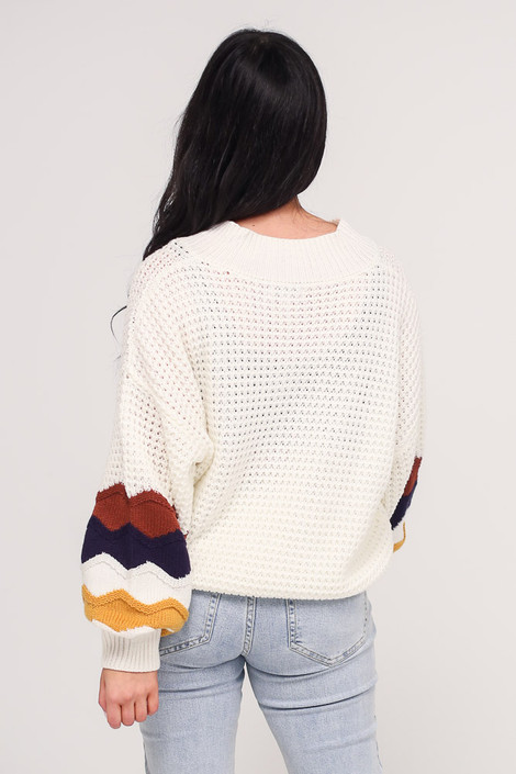 Statement Sleeve Oversized Knit Top Back View