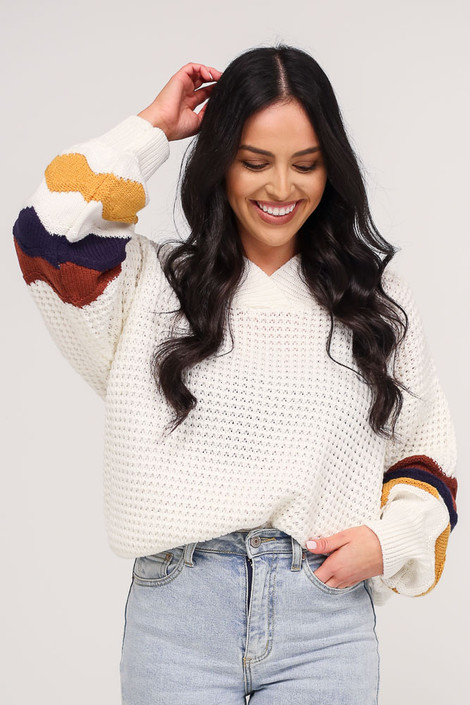 Close Up of the Statement Sleeve Oversized Knit Top