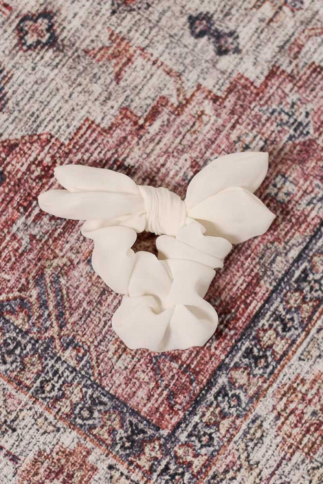 White - Tie Scrunchie Flat Lay