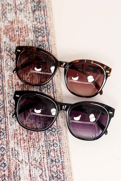 Black - Horn Rimmed Sunglasses