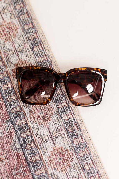 Tortoise - Flat Lay of the Oversized Square Sunglasses