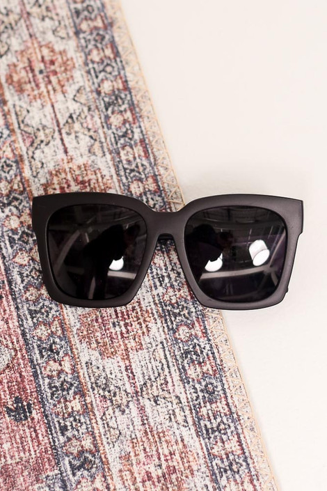 Matte Black - Flat Lay of the Oversized Square Sunglasses