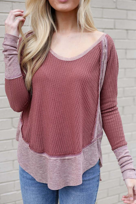 Close Up of the Contrast Waffle Knit Top in Burgundy