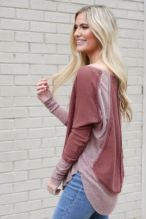 Contrast Waffle Knit Top in Burgundy Side View