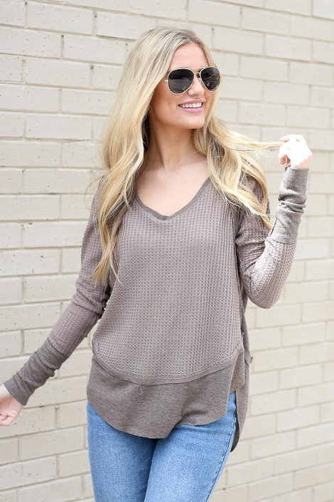 Contrast Waffle Knit Top in Mocha Front View