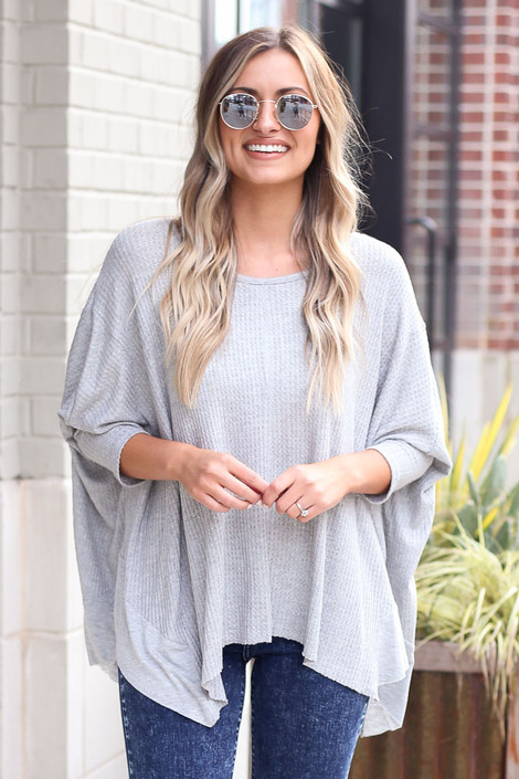 Heather Grey - Front View of the Blake Oversized Top