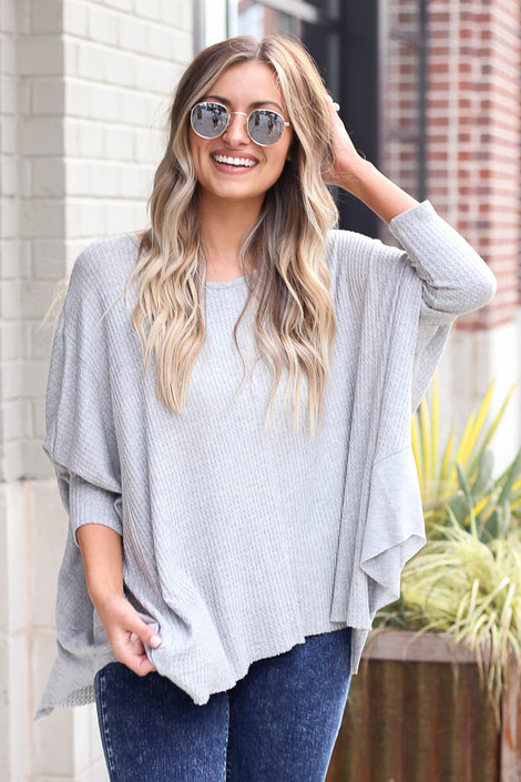 Heather Grey - Front View of the Blake Oversized Top from Dress Up