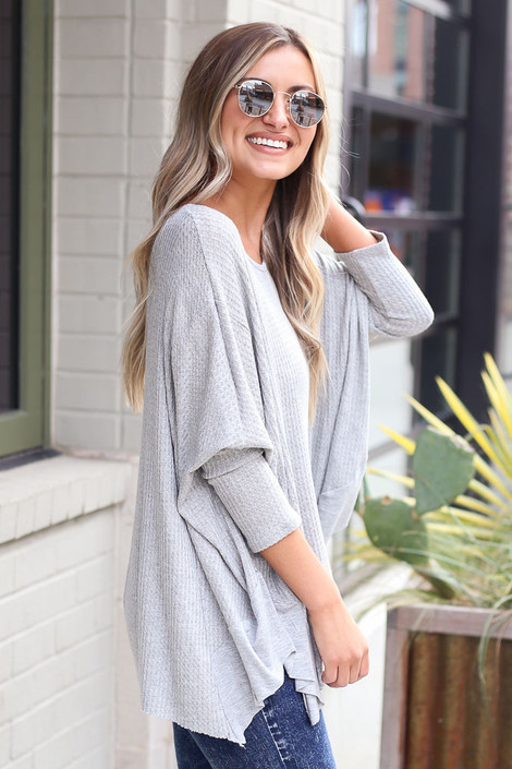 Blake Oversized Top in Heather Grey Side View