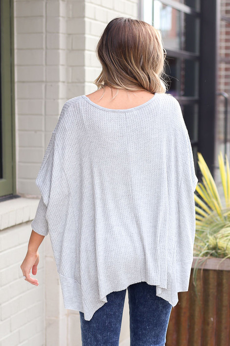 Blake Oversized Top in Heather Grey Back View