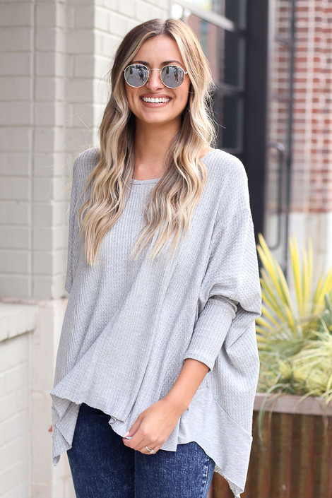 Blake Oversized Top in Heather Grey Front View