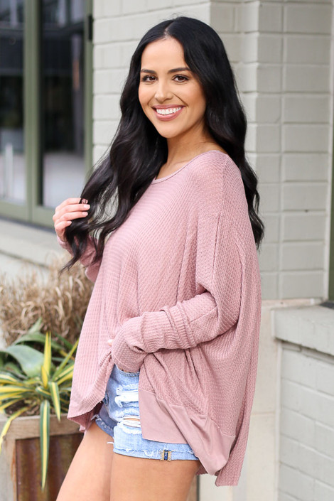 Blake Oversized Top in Mauve Side View