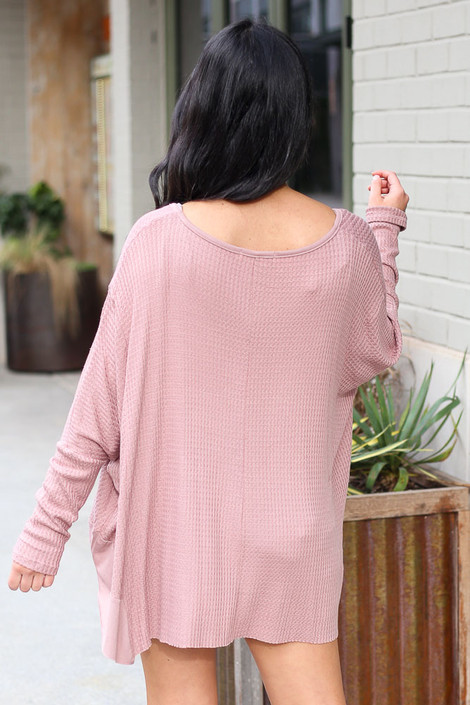 Blake Oversized Top in Mauve Back View