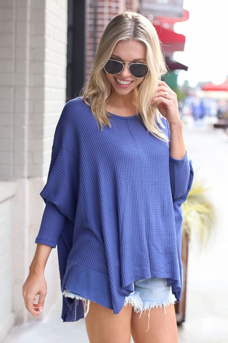 Blake Oversized Top in Blue Side View