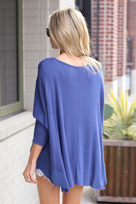 Blake Oversized Top in Blue Back View