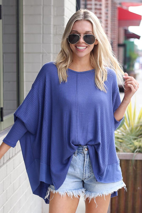 Blake Oversized Top in Blue Front View