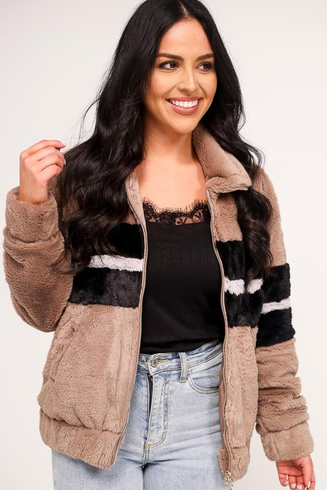 Taupe - Striped Faux Fur Jacket from Dress Up