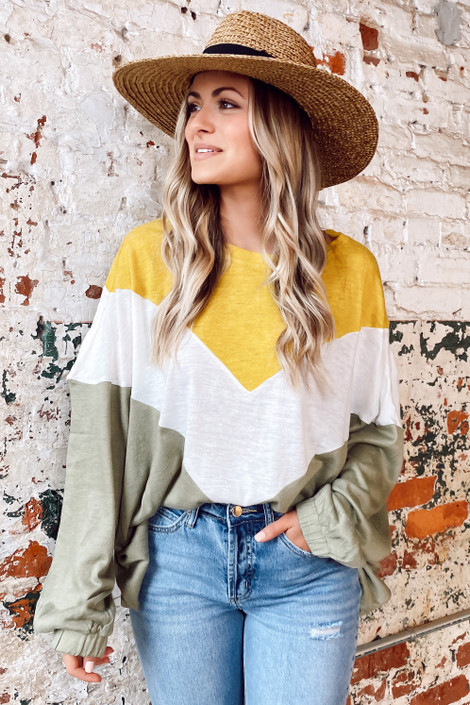 Olive - Oversized Color Block Tee
