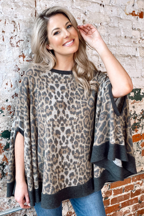 Leopard - Brushed Knit Ponchos Up model wearing the Brushed Knit Poncho