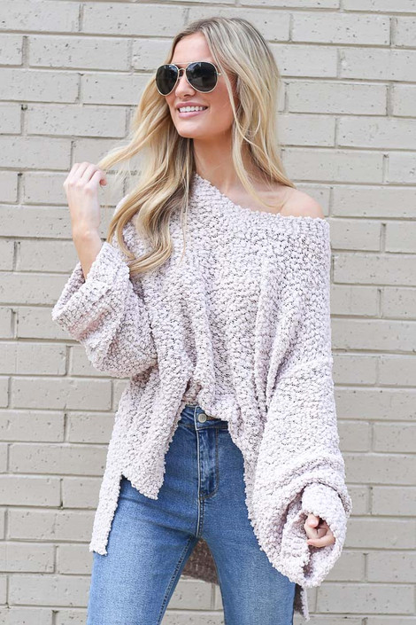 Blush - Oversized Popcorn Knit Top from Dress Up