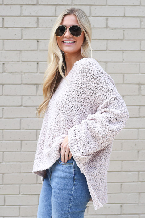 Oversized Popcorn Knit in Blush Top Side View