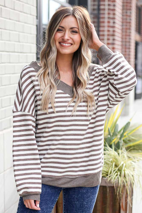 Mocha - Striped Waffle Knit Oversized Top