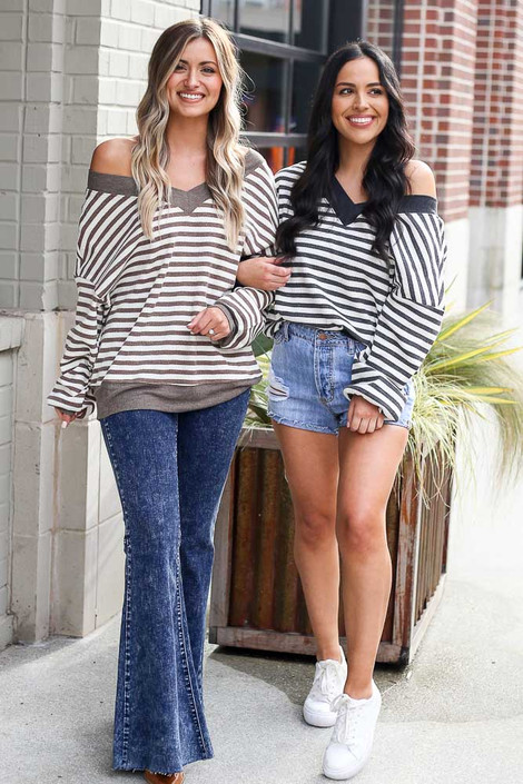 Mocha - Striped Waffle Knit Oversized Top from Dress Up