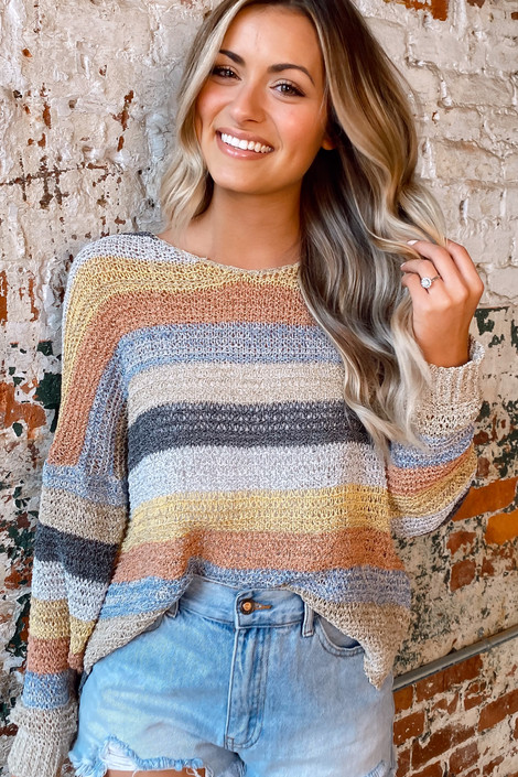Taupe - Striped Loose Knit Top from Dress Up