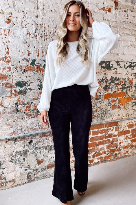 Black - Corduroy Flare Pants