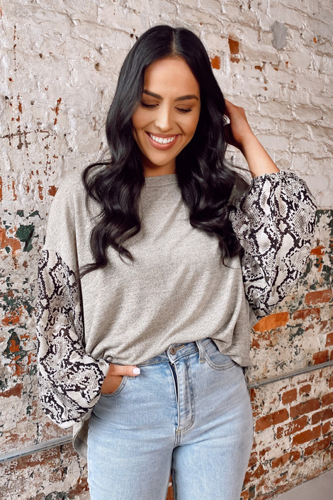 Taupe - Snakeskin Sleeve Oversized Top from Dress Up