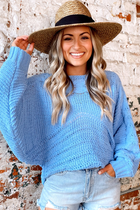 Blue - Chenille Cable Knit Oversized Top from Dress Up