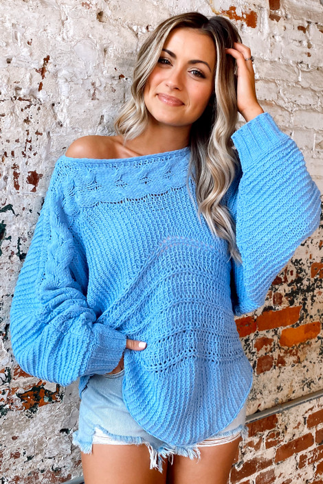 Blue - Chenille Cable Knit Oversized Top