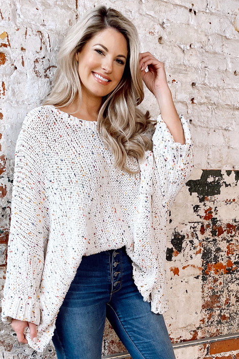 Ivory - Chenille Confetti Knit Oversized Top from Dress Up
