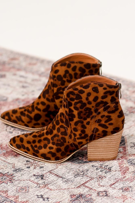 Flat Lay of Leopard Microsuede Block Heel Booties Standing Side View from Dress Up Boutique