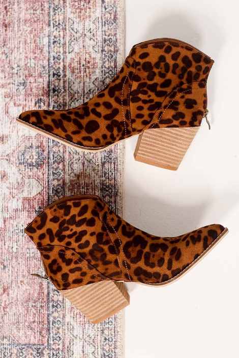 Flat Lay of Leopard Microsuede Block Heel Booties Side View from online boutique