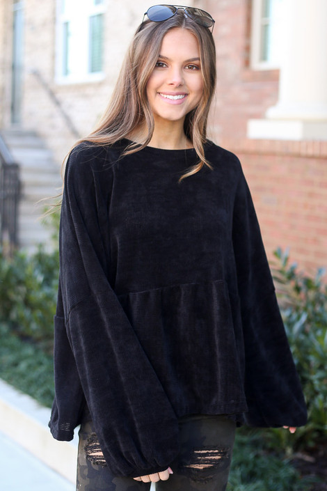 Black - Velour Knit Oversized Babydoll Top