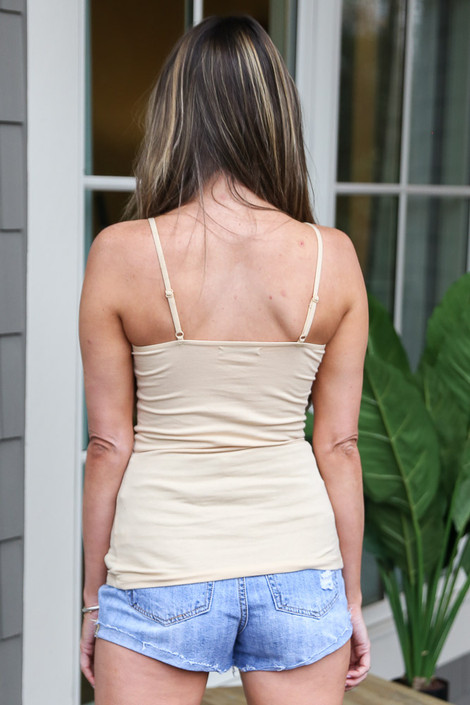 Basic Tank in Taupe Back View