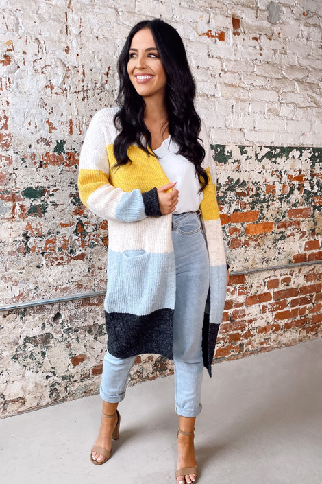 Ivory - Color Block Knit Cardigan from Dress Up