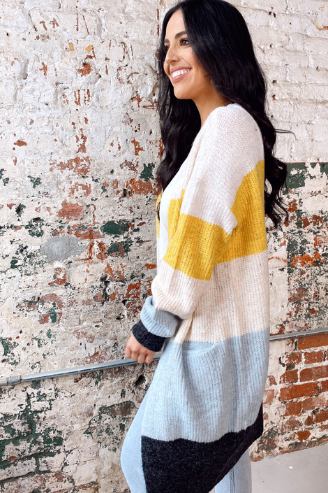 Color Block Knit Cardigan Side View