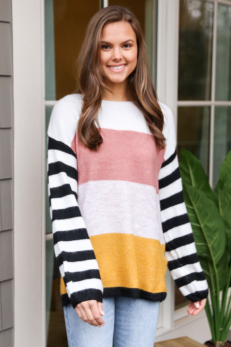 Blush - Oversized Color Block Knit Top
