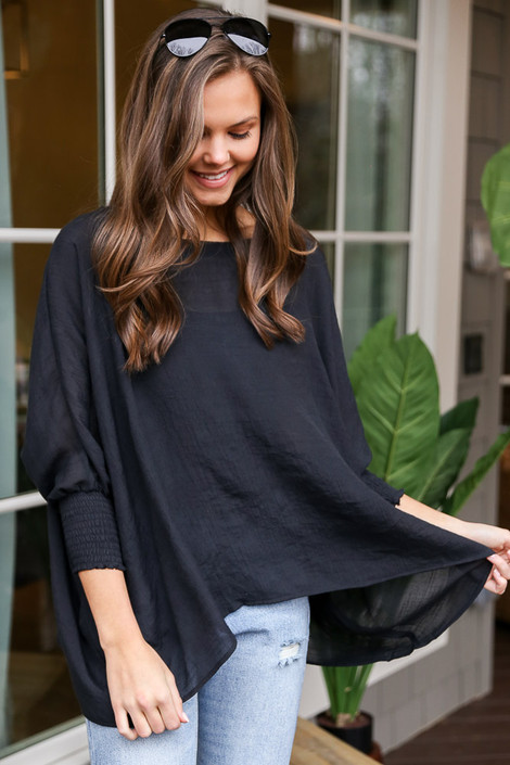 Black - Smocked Sleeve Oversized Top