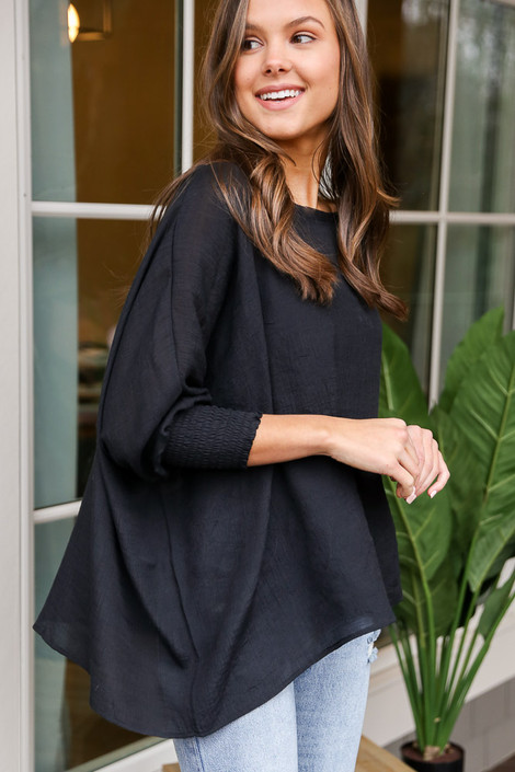 Smocked Sleeve Oversized Top Side View