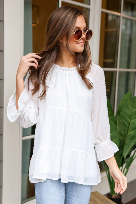 White - Swiss Dot Tiered Babydoll Tunic from Dress Up