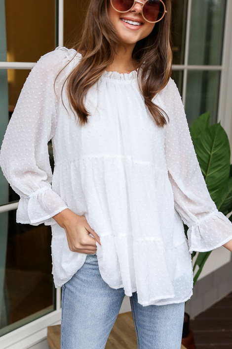Close Up of the Swiss Dot Tiered Babydoll Tunic in White