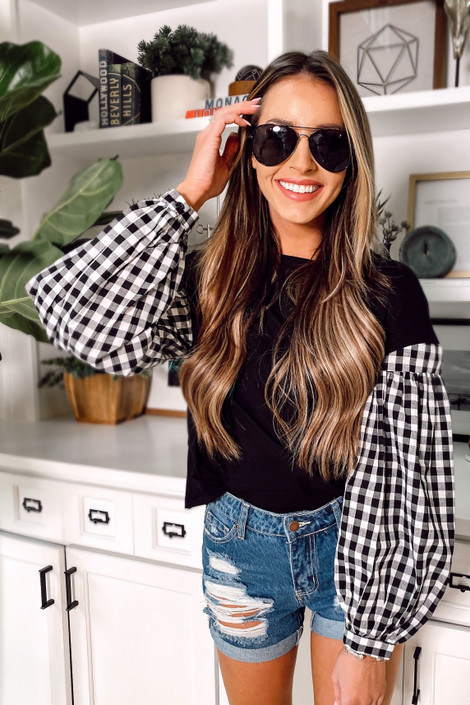 Black - Gingham Sleeve Top