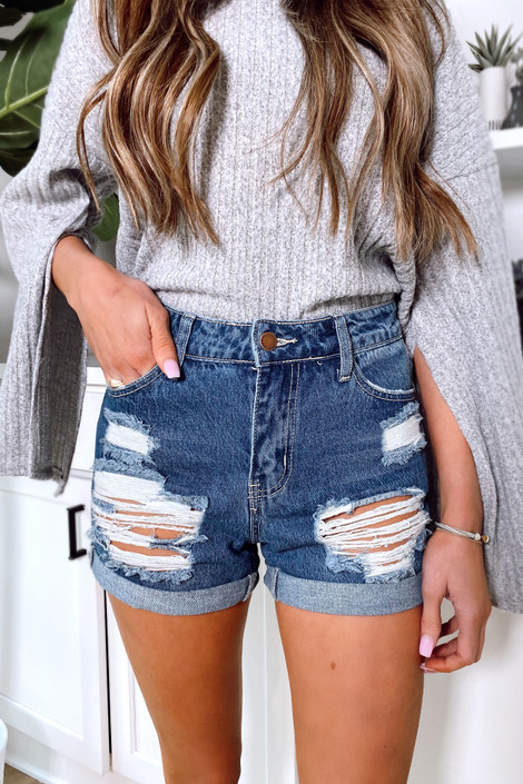 Medium Wash - High-Waisted Distressed Mom Shorts